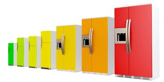 3d energy efficiency concept with fridges. On white background Stock Photography