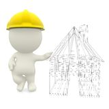 3D engineer with a house sketch Stock Images