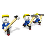 3d engineers working with their big hammer Royalty Free Stock Photo