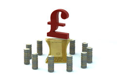 3d English pound sterling sign on the flattened-ou Stock Image