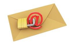 3d envelop beschermt met hangslot Stock Foto's