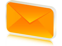 3d envelope. 3d orange envelope isolated on white Royalty Free Stock Photo