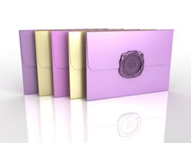 3d envelopes with sealing wax Stock Images