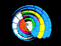 3D - Escudo funky Multicolor Imagem de Stock