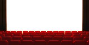 3d esvaziam a tela do cinema com auditório Fotografia de Stock Royalty Free