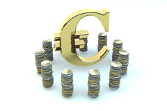 3d EURO gold sign in an environment of coins. Of euro on white background Stock Photography