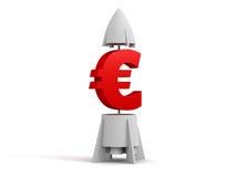 3d euro met een raket stock foto