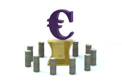 3d EURO sign on the flattened-out gold ingot Royalty Free Stock Photography