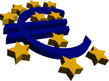 3D Euro and Stars Royalty Free Stock Photos