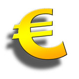 3d Euro symbol. On green background Stock Photography