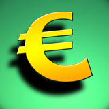3d Euro symbol. On green background Royalty Free Stock Images