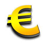 3d Euro symbol. On green background Stock Images