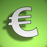 3d Euro symbol. On green background Royalty Free Stock Photo