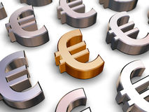 3D Euro symbols. A single golden Euro symbol surrounded by many chrome-plated Euro symbols (3D rendering stock illustration
