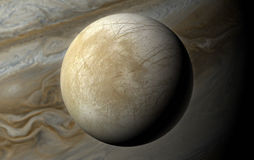 3D Europa over Jupiter Stock Photo