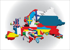3d European continent. 3d Outline maps of the countries in European continent Royalty Free Stock Photography