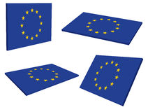 3D European Union Flag (EU). 3D Flag of the European Union (EU Stock Photos