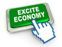 3d excite economy button Stock Images