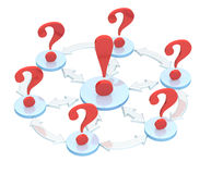 3d exclamation mark among question marks Royalty Free Stock Photo