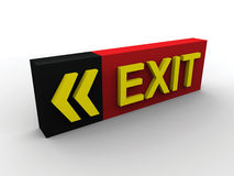 3D Exit sign. Beautiful red 3d exit sign Royalty Free Stock Image