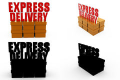 3d express delivery concept Collections With Alpha And Shadow Channel Stock Photo