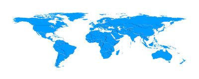 3d extruded countries borders worldmap (blue) Stock Photos
