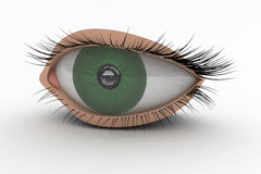 3D Eye Icon. 3D Green Eye as modern Icon. Perspective view Royalty Free Stock Image