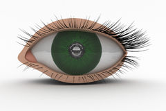 3D Eye Icon. 3D Green Eye as modern Icon. Front view Royalty Free Stock Images
