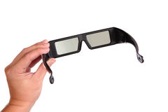 3D eyeglasses and hand. 3D eyeglasses (active glasses ) for LCD TV royalty free stock images