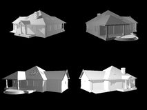 3d face house project isolated on black. 3d project Stock Image