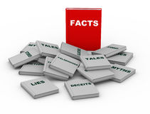 3d facts book. 3d render of red facts book vs lies, myth and other untruth stories books Stock Photography
