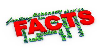 3d facts vs lies wordcloud. 3d render of word tags wordcloud of conept of facts vs untruth lies stories myths Stock Photography