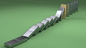 3d Falling Shiny Dominos Royalty Free Stock Images