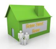 3d família feliz - HOME doce Home Imagem de Stock Royalty Free