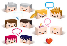 3D family avatars, vector. 3D family avatars with speech bubbles, vector people icon set Royalty Free Stock Photos
