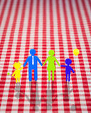 3d family on gingham tablecloth Stock Photography