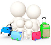 3D family going on holidays Stock Images