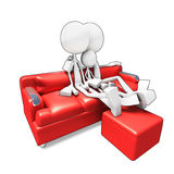 3D family sitting in sofa watvhing tv Stock Photography