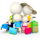 3D family on vacations Royalty Free Stock Photos