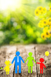 3d family on wooden table Royalty Free Stock Images