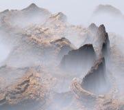 3D fantasy mountains landscape. 3D render of stony and foggy mountains landscape vector illustration
