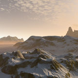 3D fantasy winter mountains landscape. 3D render of fantasy winter mountains landscape near dawn or sunset Royalty Free Stock Photography