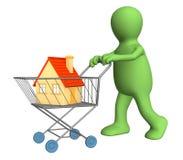 3d fantoche - comprador, comprado a casa Imagem de Stock