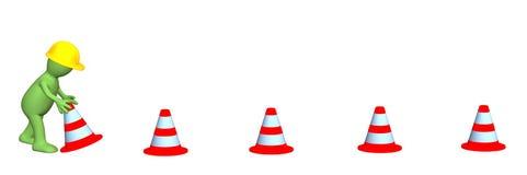 3d fantoche - trabalho, instalando cones da emergência Foto de Stock