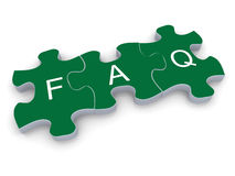 3d faq puzzle. 3d render of faq (frequently asked questions) puzzle piece Royalty Free Stock Photos
