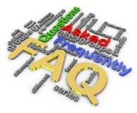 3d faq wordcloud. 3d render of faq wordcloud on white backgroud Stock Images
