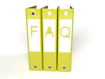 3d faq yellow folders Royalty Free Stock Photo