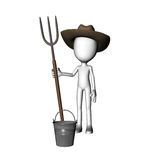 3D Farmer Man Holding Fork Royalty Free Stock Photography