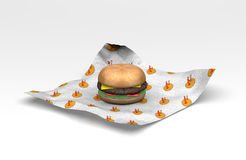 3D Fast food burger in wrapper. A 3D burger lay on the wrapper with a made up burger logo on it Royalty Free Stock Image