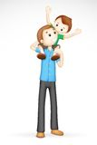 3d Father and Son in Vector. Illustration of 3d father giving boy piggy back ride in fully scalable Stock Photo